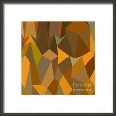 Copper Brown Abstract Low Polygon Background Framed Print By Aloysius Patrimonio