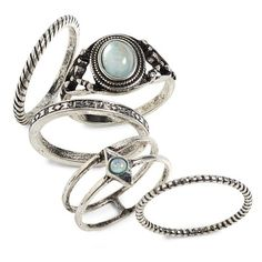Women's Topshop Set Of 5 Rings (€12) ❤ liked on Polyvore featuring jewelry, rings, silver, silver jewellery, silver rings, topshop jewelry, silvertone jewelry and topshop rings