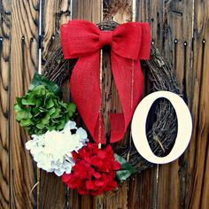 Jolly Christmas Wreath  Red White Green by Frontporchdecor on Etsy, $44.00