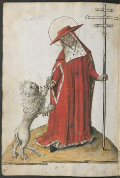 Munich BSB Cgm 5062; St Jerome portrayed with his attribute, a lion, and in cardinal's regalia.