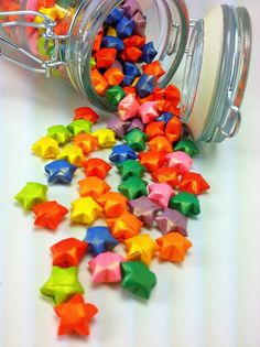 Multicolored Origami Lucky Stars Jar by meligami on Etsy, $15.00