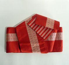 "Casual obi sash - Japanese vintage - ""han-haba (half-width)"" silk sash - Hakata sash - vermillion and off-white - WhatsForPudding #1901"