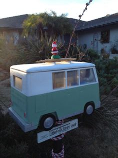 Susan Halliday. San Diego, CA.  	 I've always wanted a VW van, but for my commute it's not the most practicle option, so my husband designed and made me a VW van LFL! The surfboard is the handle that lifts the lid, and we have it divided in two between adult and children's books. The kids in our neighborhood love it, and read like crazy! I've loved reading since I was young, and it's nice to still see kids excited about books.