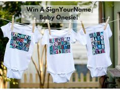 #Win A SignYourName Baby Onesie! These are so cute. You will love all the personalized gifts.