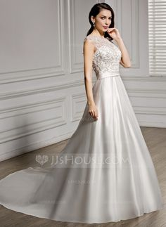 [NZ$ 399.50] A-Line/Princess Scoop Neck Chapel Train Satin Lace Wedding Dress With Beading Sequins