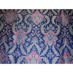 Pure Heavy Silk Brocade Fabric deep royal blue~awesome