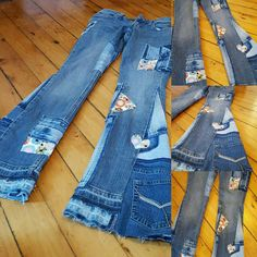 Bell Bottoms Patch Worked Denim Jeans Custom by BellBottomBleus