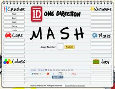 Play the MASH Game online - 1D Edition!  I met Niall and we got married. We had 5 kids and lived in a mansion. I worked as a singer until 65 when I retired. Sounds about right.