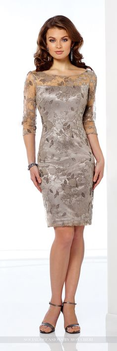 Social Occasions by Mon Cheri - 216872 - Sequin lace knee-length sheath with illusion and sequin lace three-quarter length sleeves, illusion and sequin lace bateau neckline and back bodice, center back slit.Sizes: 4 - 20Colors: Gray, Champagne