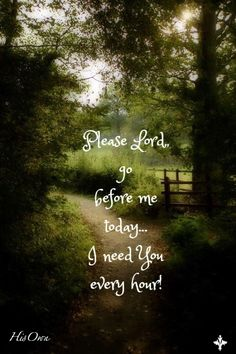 * Please Lord, go before me today... I need you every hour!