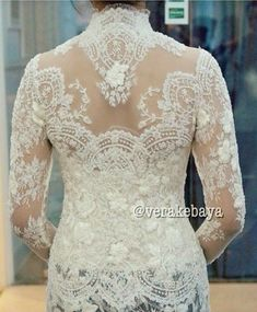 New embroidery bead dress bridal collection 30 ideas Vera Kebaya, Kebaya Lace, Kebaya Brokat, Batik Kebaya, Kebaya Dress, Batik Dress, Lace Dress, Dress Skirt, Kebaya Wedding
