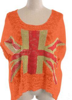 Orange UK Flag Print Short Sleeve Eyelet Sheer Knitted Jumper