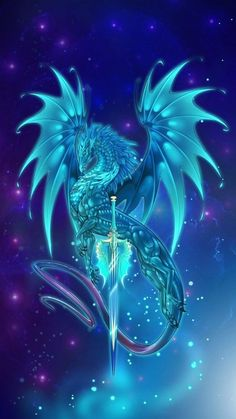 Glowing dragon art, holding metallic silver sword prepared for war. Mystical Animals, Mythical Creatures Art, Mythological Creatures, Fantasy Creatures, Dragon Bleu, Blue Dragon, Water Dragon, Wings Of Fire Dragons, Cute Dragons