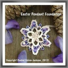 """The Piney Woods Tatter - Easter Pendant  """"The thread I'm using is Valdani Luxury Pearl Silk in S49 (Subtle Elegance). There are also quite a few Czech seed beads, too, in a nice purple/lavender color."""" http://pineywoodstatter.blogspot.com/2013/03/staycation-day-one.html"""