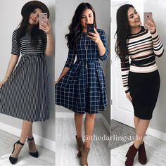 Fall looks. Fall looks. Fall looks. Modest Dresses, Modest Outfits, Fall Dresses, Modest Fashion, Cute Dresses, Fashion Dresses, Casual Skirt Outfits, Trendy Outfits, Fall Outfits