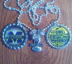 Michigan wolverines bottle cap necklace by LegacySportsJewelry on Etsy