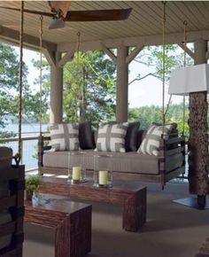 Porch swings - love the pillows and seat cushions