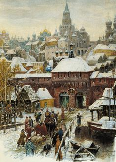 Moscow at the end of the XVII century, by Apollinary Vasnetsov Claude Monet, Pierre Auguste Renoir, Russian Painting, Russian Art, Russian Style, A4 Poster, Poster Prints, Anime Comics, Medieval