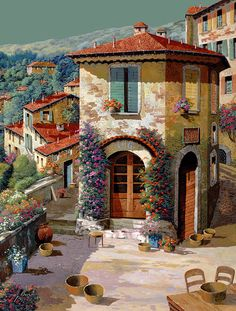 Light Green Sky Painting - Un Cielo Verdolino by Guido Borelli Fine Art Amerika, Painting & Drawing, Watercolor Paintings, Sky Painting, Beautiful Places, Beautiful Pictures, Beautiful Paintings, Painting Inspiration, Art Pictures