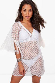 dc1e173e38f Sadie Crochet Tassel Trim Beach Kimono