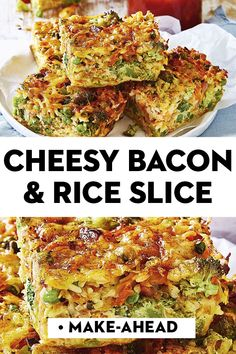 food appetizers Cheesy bacon and veggie rice. - Tracy - food appetizers Cheesy bacon and veggie rice. food appetizers Cheesy bacon and veggie rice slice - Vegetable Slice, Vegetable Dishes, Vegetable Bake, Savoury Slice, Savoury Dishes, Baby Food Recipes, Cooking Recipes, Healthy Recipes, Quiche Recipes