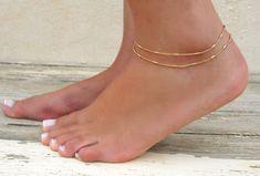 Double couches Anklet or, bracelet chaîne en or, chaîne en couches Anklet, Multistandard cheville or délicat bracelet de cheville or