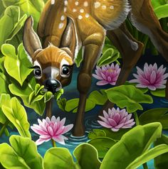 Two twin fawns feeding among the water lilies - by Alida Loubser (Artwork medium: Digital painting in Adobe Photoshop, Wacom Intuos tablet) Wacom Intuos, Water Lilies, Adobe Photoshop, Tinkerbell, Disney Characters, Fictional Characters, Twin, Lily, Photo And Video