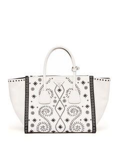 234bff0091a4 Prada Embroidered Saffiano Twin Pocket Tote Bag