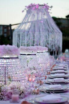 Cristalli luccichii bagliori per i tavoli del ricevimento nuziale by Cira Lombardo