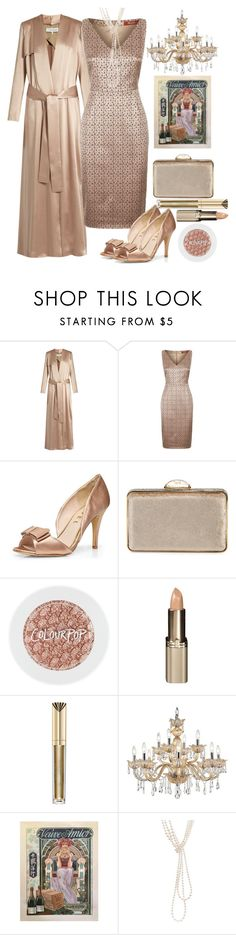 """""""Shimmer"""" by loves-elephants ❤ liked on Polyvore featuring Galvan, MaxMara, Dorothy Perkins, Judith Leiber, L'Oréal Paris, Max Factor, Universal Lighting and Decor and Chanel"""