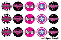 Instant Download - Superhero - Pink - 1 Inch Bottle Cap Images - 4x6 Digital Printable on Etsy, $1.50