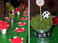 Today's party feature is a soccer theme party for a boy, Tyler! Tyler's mom, Jessica, sent me such a lovely recap of the party that I'm going to let HER tell the story in her own words. Soccer Birthday Parties, Soccer Party, Sports Party, 7th Birthday, Soccer Centerpieces, Grass Centerpiece, Soccer Treats, Soccer Gifts, Soccer Stuff