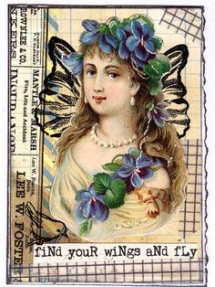 #ATC #woman #Victorian #fairy (created from scrap paper, washi tape, rub ons with antique chromograph scrap)