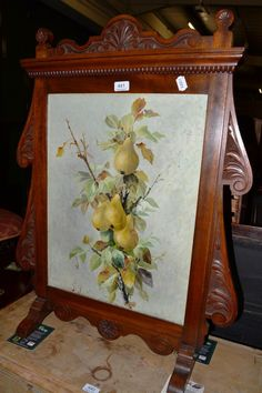 Victorian Fire Screens | Tennants Auctioneers: A late Victorian fire screen with an oil on ...