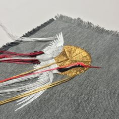 Japanese Embroidery Patterns Embroidered Fringed Crane by Ellie Mac Embroidery Shirt Embroidery, Hand Embroidery Stitches, Silk Ribbon Embroidery, Embroidery Patterns, Flower Embroidery, Sashiko Embroidery, String Art Patterns, Fun Patterns, Ellie And Mac