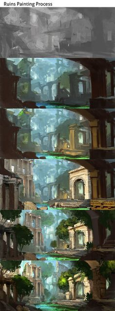 Ruins Process by Darkhikarii.deviantart.com on @DeviantArt