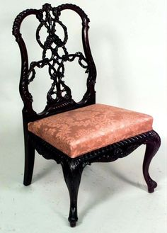 English Chippendale seating chair/side chair-pair mahogany