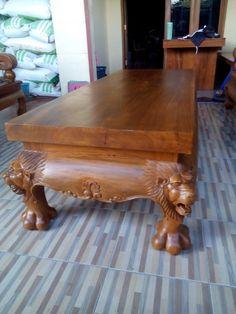 The lion teak table Sofa Furniture, Vintage Furniture, Teak Table, Wooden Sofa, Teak Wood, Furniture Inspiration, Sofa Set, Agriculture, Metals