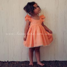 Peach orange fairy dress. Stunning beautiful vintage fashion love. Lacey Lane Kids fashion. Children's fashion. LOVE   the frill back. For little girls