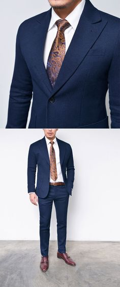 Mens Peaked 2pcs Waffle Slim Navy-Suit 31 by Guylook.com