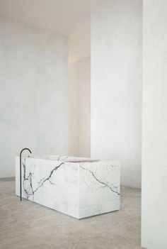 statuary marble bathtub, bathroom by Jon W Benedict