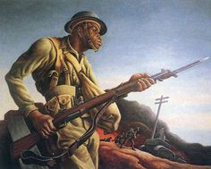 Negro Soldier by Thomas Hart Benton (1942) American Painter