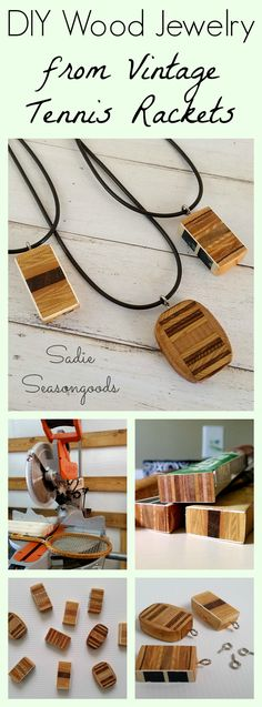 "This is TRULY a case of ""Who'd a Thunk It?"". Vintage tennis racket handles are transformed into beachy-cool wooden pendants in this crazy, but amazing, upcycling DIY tutorial. I love to repurpose jewelry, and these wood pendants have such an amazing backstory! #SadieSeasongoods"