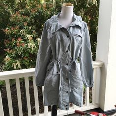 Banana Republic jacket periwinkle? Great jacket in great shape!! Soooo cute with all the cinches!! Rain jacket:) button and zip. No hood. Nylon/polyester.. 21 bust 18 sleeve 38 length. No pets stains tears or smoking.  Measurements are approximate and taken while laying flat Banana Republic Jackets & Coats