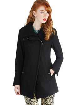 Diagonal Alley Coat in Black by Steve Madden - Black, Solid, Long Sleeve, Casual, Military, Fall, Winter, Exclusives, Long, Black, Top Rated...