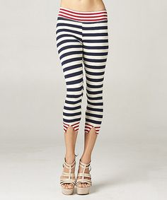 Another great find on #zulily! Red & Navy Stripe Capri Pants by Breakfast in Bed #zulilyfinds