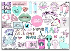Pink anarchy tumblr color sticker sheet Planner diary