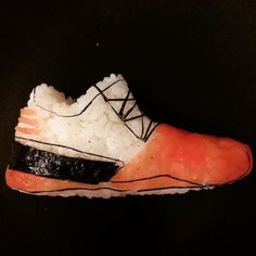 Milan based sushi chef and artist Yujia Hu uses traditional sushi  ingredients to create pieces of onigiri that look like miniature athletic  shoes. 7688c482a35