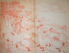 """The Wild Swans -- Endpaper from """"Fairy Tales of Many Lands"""" -- Fairytale Illustration"""