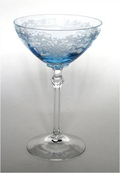 Fostoria Glass Azure Blue June Etch Champagne